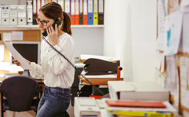 office answering phone call