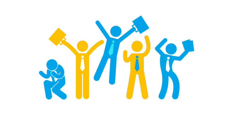 vector of people holding briefcases in yellow and blue